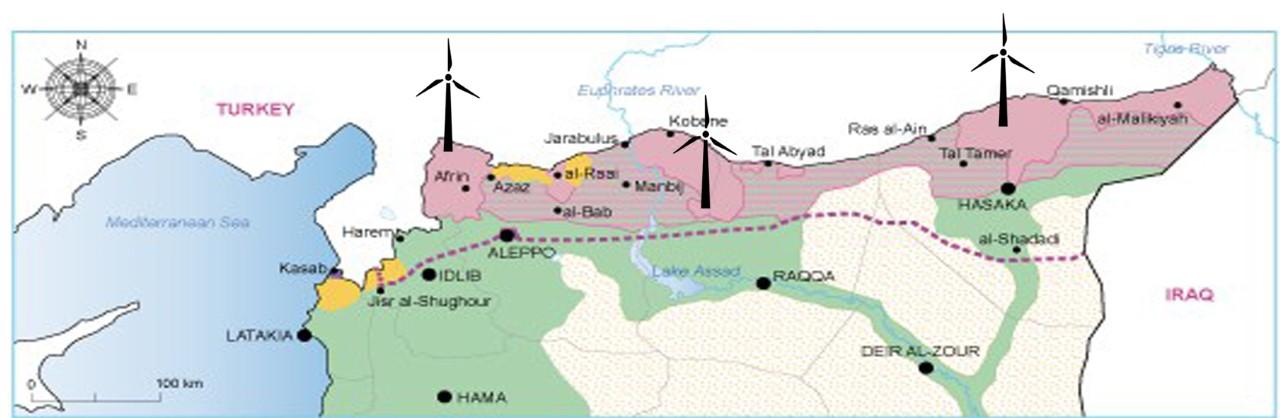 الخارطة الريحية لشمال سوريا