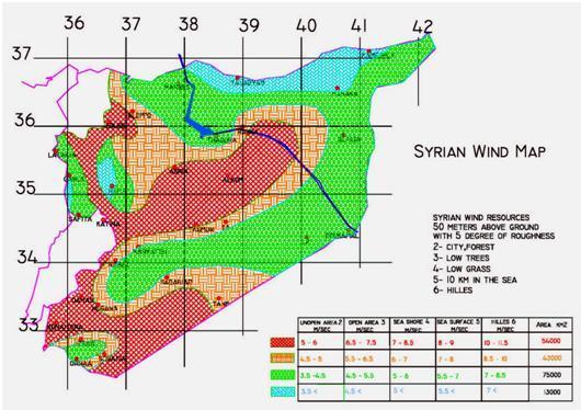 الخارطة الريحية لسوريا
