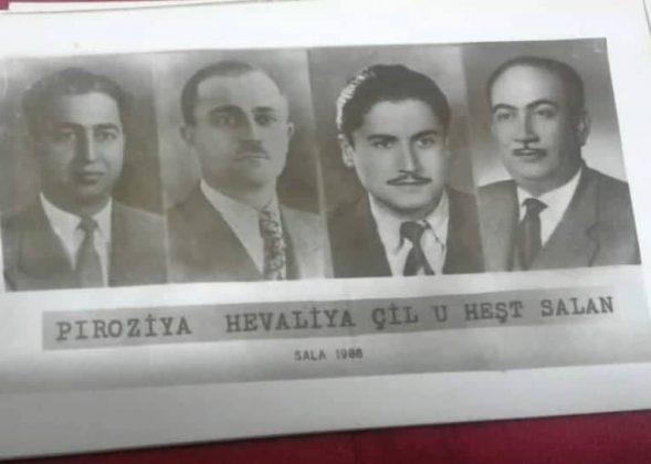 الأصدقاء الأربعة من اليمين رشيد شيخ الشباب، راشد جلعو، أوسمان صبري، عزّت فلو